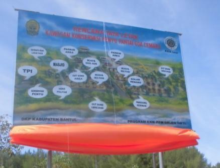 Mempermudah Akses Konservasi Penyu Pantai Goa Cemara  KKN UAD Pasang Baleho