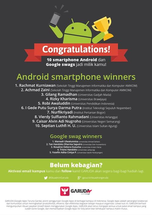 Pemenang Promo Gratis Smartphone Android bagi pengguna Google Apps